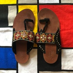 embellished and embroidered free people slides